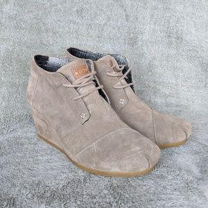 Toms Desert Taupe Wedge Heels Women's Size 8.5